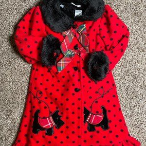 Red Coat And Velvet Dress Outfit